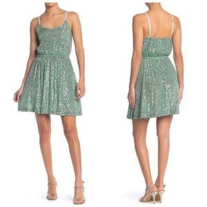 Melloday Mint Green Sequined Button Top Mini Dress